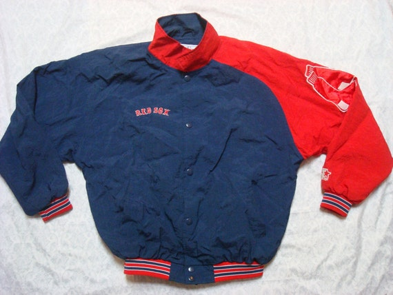 Vintage Retro Men's 90's Boston Red Sox Starter Jacket Blue Red MLB Baseball Snaps Diamond Collection Large