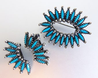 Vintage Southwestern Style Faux Turquoise Petit Point Brooch & Earring Set