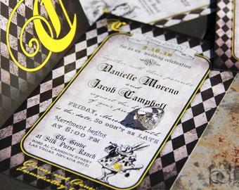 Vintage Alice in Wonderland Wedding Invitation,Whimsical Alice in wonderland wedding invitation,checkered patter,vintage alice,cheshire cat,
