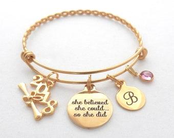 Gold Graduation Gift-Gold Graduation Bangle bracelet-Senior Graduation Gift-She believed she could so she did High school college graduation