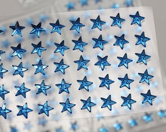 6mm 8mm Blue Sapphire Stick On Star Rhinestones Gems For DIY Cards and Invitations  - 50 Pieces