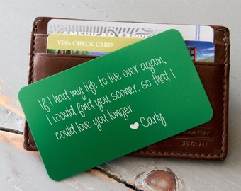 Personalized Wallet Card, Custom Wallet Insert, Engraved Wallet Card: Valentine's Day Gift for Men, Deployment Gift, Groom's Gift for Him