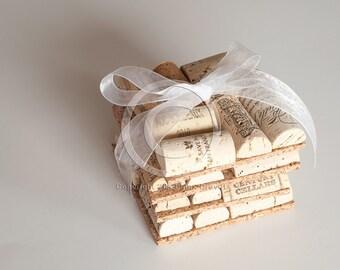 Wine Cork Coasters Set of Four, Wine Cork Crafts, Wholesale, Unique Wedding Favors, Bar Gift
