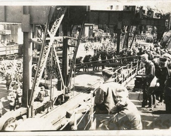 vintage photo 1918 Troops of Military Soldiers March up Ships Plank Going to Europe War RPPC
