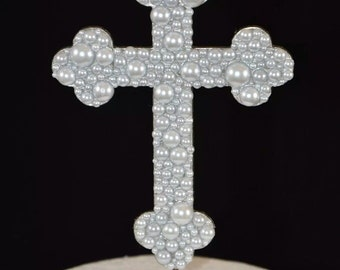Bling White Pearl Crucifix / Cross Cake Toppers