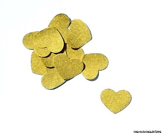Gold Hearts...Fabric Iron On Appliques...Set Of 12 Hearts