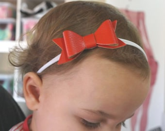 Red faux leather bow, Baby bow headband, Baby bows, Faux leather bow headband, Newborn headband, Nylon bow headband, Nylon baby headband