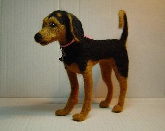 Custom needle felted Dog Sculpture pet animal portrait soft sculpture