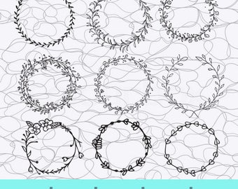 Flower Wreath SVG, Leaf Wreath SVG, Laurel Wreaths Clipart Digital, Leaf Circle Monogram Frame, Leaf Circle Monogram Frame Files, Silhouette