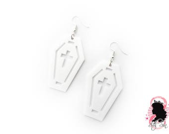 White Acrylic Coffin and Cross Earrings, Glossy White Acrylic Cross Earrings, White Acrylic Coffin Earrings, White Coffin Earrings, Plastic
