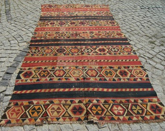 1870's Caucasian Vegetable Dye Collectible Sihirvan  Kilim   Rug  61,4'' X 121,2''  inches