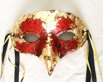 Red and Gold Bird Masquerade Mask