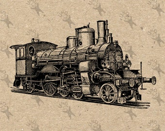 Retro drawing Train Locomotive Steam Instant Download Digital printable Black and White graphic scrapbooking burlap kraft totes towels HQ300