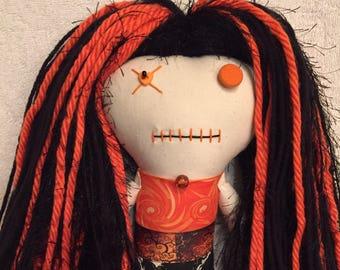 """Creepy n Cute Zombie Doll ~ """"Orange Skull Swirling Menage"""" Gal (P)"""