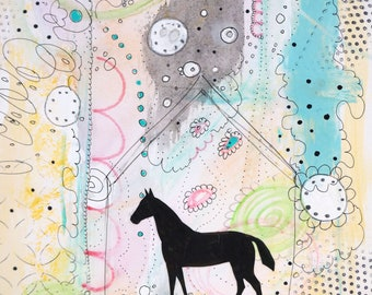 Horse Wall Art- Original Horse Painting On Wood Panel, Modern Acrylic Painting and Collage Art, Sweet Farmhouse Home Decor For a Girl's Room