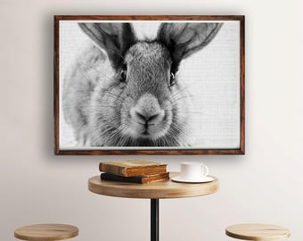 Rabbit Print, Bunny Print, Nursery Decor, Rabbit Wall Art, Black and White, Animal Print, Printable Art, Bunny Art Portrait, Wall Art Decor