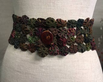 Vintage Fabric YoYo belt is wearable art