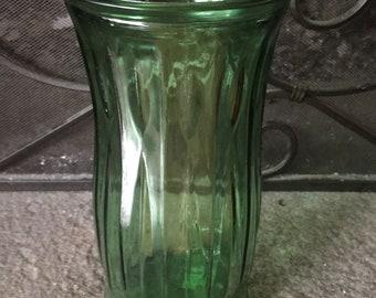 Vintage EO Brody Co green glass flower vase