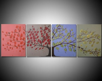 """landscape painting canvas triptych wall art triptych four panel """"Seasons"""" multi abstraction contemporary art tree of life 64 x 20 """""""