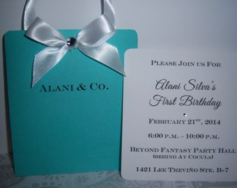 10 Tiffany Shopping Bag Invitations Birthday Sweet 16 Quinceañera Baby Bridal Shower