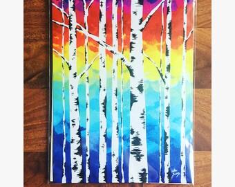 Aspen Rainbow Forest Print - Colorful Forest Wall Decor - Original Art