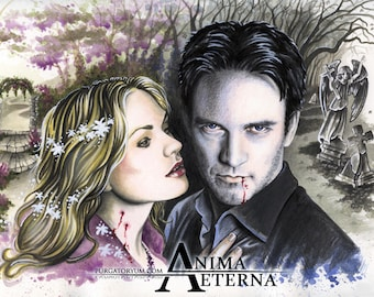"""Fairy Blood - True Blood Traditional Art Watercolor Painting - Photo Print 15x20cm (5.9""""x7.8"""") - Hand Signed"""