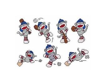 Baseball Sock Monkey Combo Counted Cross Stitch PDF Pattern