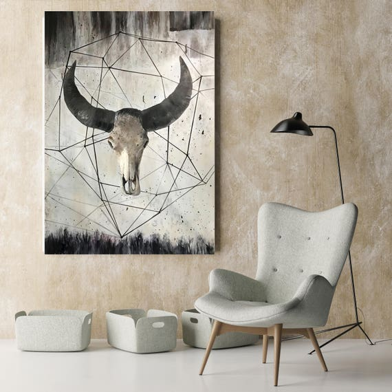 "ORL-9981-12 Buffalo skull 2.  Extra Large Rustic Buffalo Skull Canvas Wall Art Print up to 72"", Animal Rustic Canvas Wall Art Print Decor"