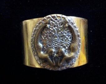 Mermaid Brass Cuff Bracelet