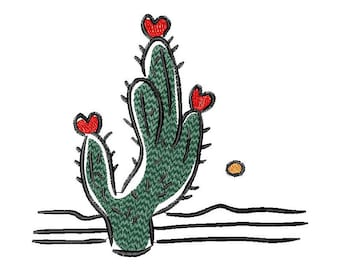 Cactus machine embroidery design Heart Love Valentines  embroidery design