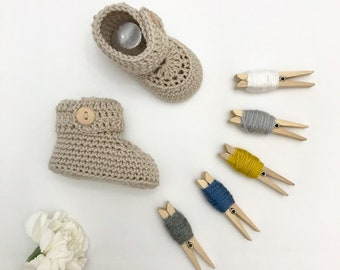 Short Button Cuff Baby Booties