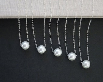 Single Pearl Necklace, Sterling silver bridesmaid necklace, Wedding Classic Pearl Necklace, One Pearl Necklace, bridal party gifts