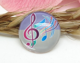 2 cabochons 20 mm glass 3-20 mm clef and music Notes