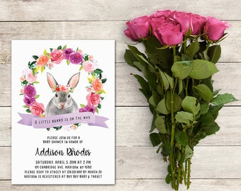 Bunny Baby Shower Invitation, A Little Bunny is on the Way,Rabbit Baby Shower,Watercolor,Floral Wreath, Baby Shower Girl, Printable No. 1065