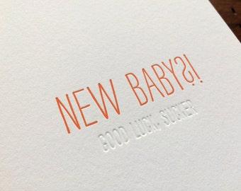 Hidden Message: New Baby, single letterpress card