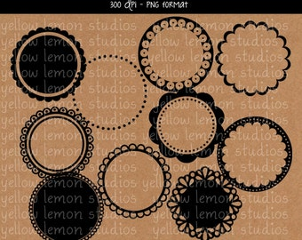 INSTANT DOWNLOAD-Scalloped round circle frames PNG files Digital Scrapbook 300dpi