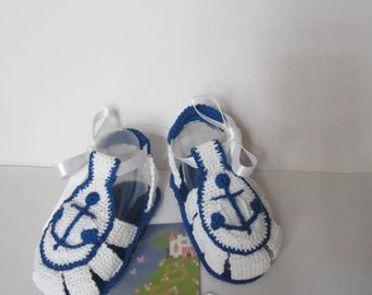 Crochet White Baby Boy Sandals Booties, Summer Baby Boys Sandals Shoes, Nautical Baby Boy Anchor Booties, Nautical Baby Booties