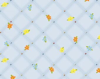 By The HALF YARD - Follow Me by Dana Brooks for Henry Glass, #9777-11 Tossed Orange, Blue and Yellow Flowers on a Light Blue Diagonal Grid
