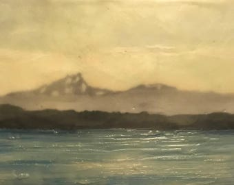 walk along the water -  8x20 original encaustic painting, mountains, wax painting, mist, clouds, sea, islands
