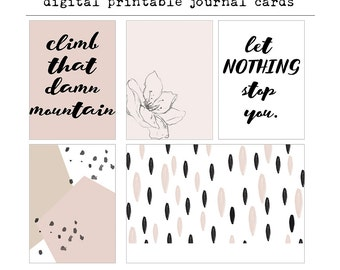 Climb That Damn Mountain - Digital Printable Journal Cards, Project Life, Digital Download, Instant Download