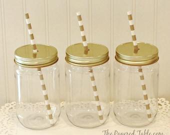 Plastic Mason Jars, 10 Plastic Mason Jar Cup with White Metal Straw Hole Lid, Plastic Cup, Wedding Favor, Baby Shower Favor, Mason Jar Decor