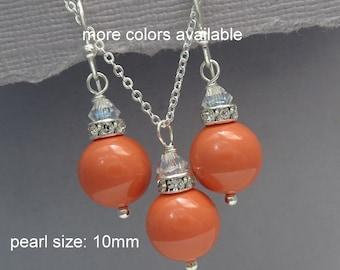 Coral Wedding Jewelry, Coral Jewelry Set, Wedding Jewelry, Beach Wedding Necklace, Orange Bridesmaid Jewelry Set, Orange Jewelry Set