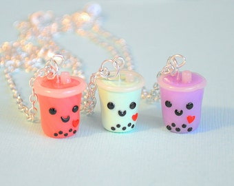 Bubble Tea Necklace, Boba Tea, Polymer Clay Food Jewelry, Kawaii Charm, Foodie, Kawaii BFF Necklaces, Cute Bubble Tea, Boba Tea Jewelry