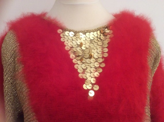 with vintage pattern sleeves off panels knitted yarn hand angora wing Red gold knit sequins silk in black lurex one with gold bat sweater 1BnSPwqx