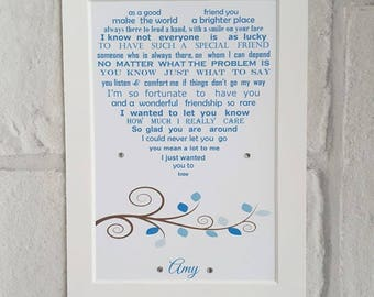 Friendship gift, 7x5 print Best friend gift, Personalised best friend, BFF gift, Birthday gift for Friend, heart shaped poem for your friend