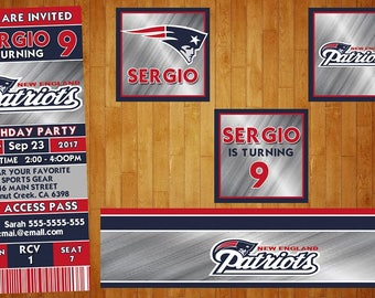 18 New England Patriots invitation also  tags label party birthday english or spanish
