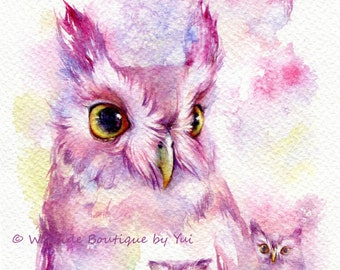 PRINT – Fairy Owl - Watercolor painting 7.5 x 11""