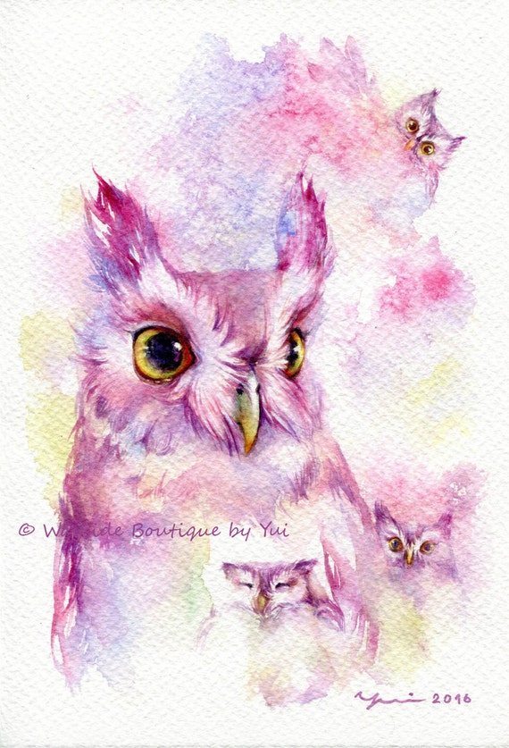 """PRINT – Fairy Owl - Watercolor painting 7.5 x 11"""""""