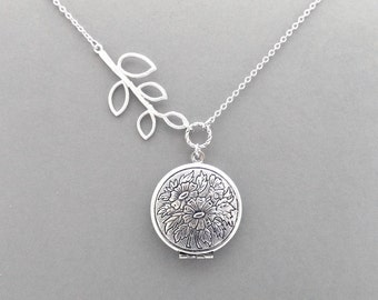 Sideways, Tree, Branch, Locket, Photo, Silver, Necklace, Modern, Beautiful, Picture, Necklace, Lovers, Friends, Mom, Sister, Gift