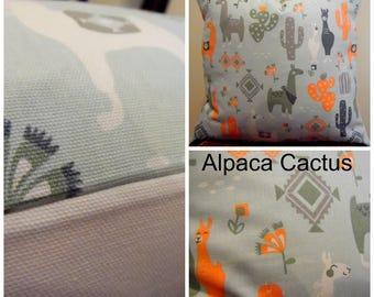 Alpaca Tribe.Cactus.Sea Foam Green.Greens.Peach.Greys.Pillow Cover.Nursery Decor.SouthWestern.Slip Covers.Tribe.PIllows.